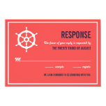 "Navy Blue and Coral Nautical Wedding RSVP Card 3.5"" X 5"" Invitation Card"