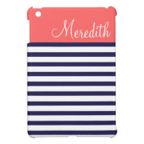 Navy Blue and Coral Preppy Stripes Custom Monogram Case For The iPad Mini