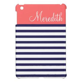 Navy Blue and Coral Preppy Stripes Custom Monogram iPad Mini Cases