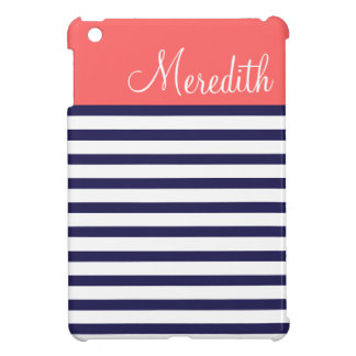 Navy Blue and Coral Preppy Stripes Custom Monogram iPad Mini Cases