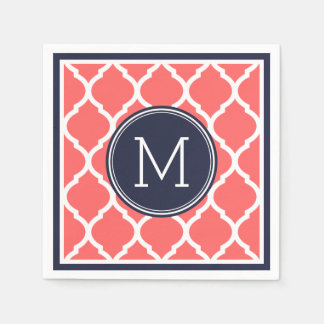 Navy Blue and Coral Quatrefoil Wedding Monogram Paper Napkin