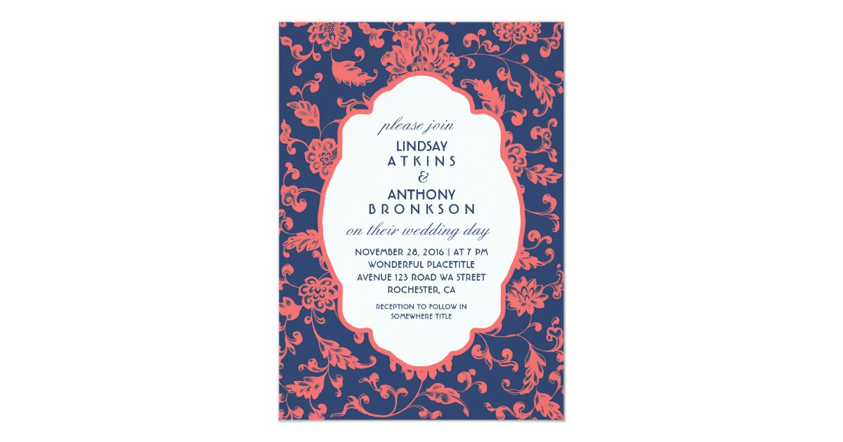 Blue And Coral Wedding Invitations: Navy Blue And Coral Wedding Invitations