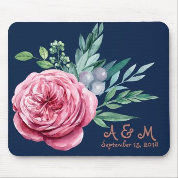 Wedding Themed Navy blue and coral wedding monogram mouse pad