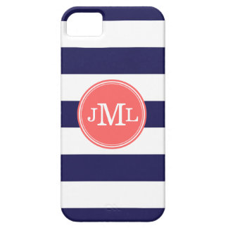 Navy Blue and Coral Wide Stripe Monogram iPhone SE/5/5s Case