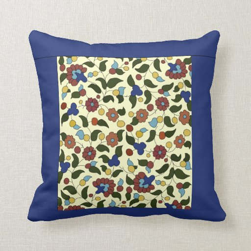 Navy blue and Cream Armenian floral pattern Pillow