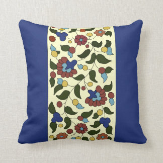 Navy blue and Cream Armenian floral pattern Throw Pillow