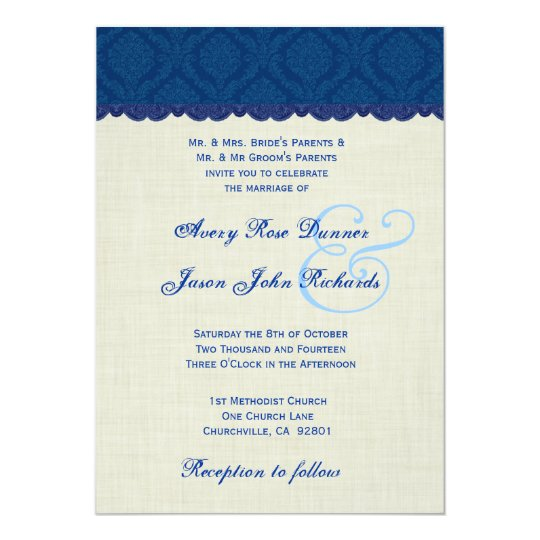 Navy Blue and Cream Damask Wedding V003 Card