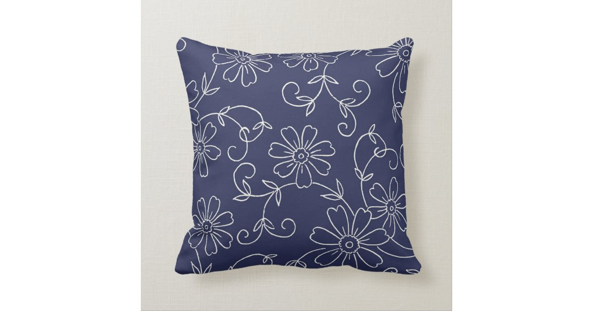 Navy Blue and Cream Floral Decorative Pillow Zazzle
