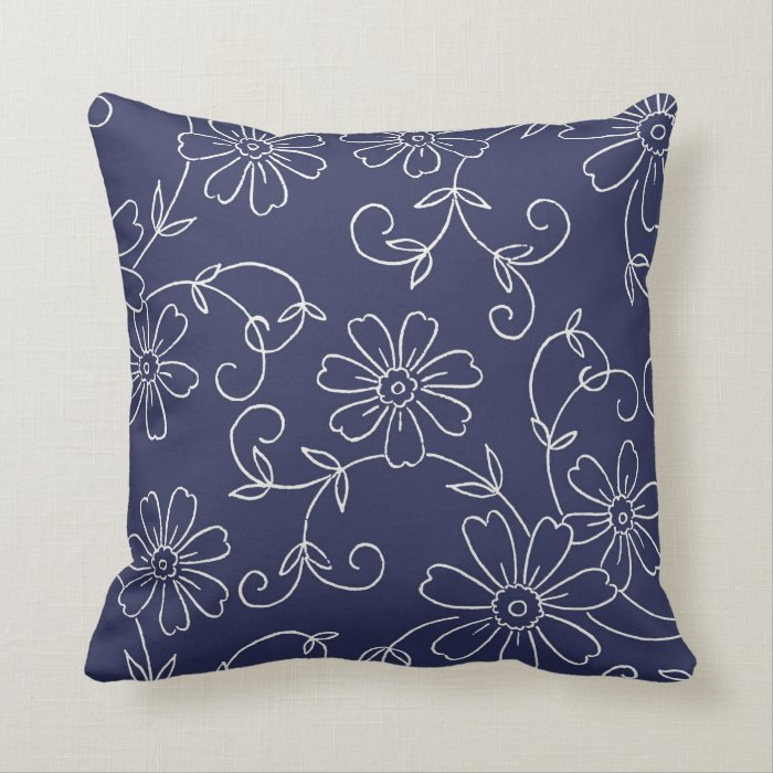 Cream Floral Throw Pillows : Navy Blue and Cream Floral Decorative Pillow Zazzle