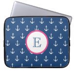 Navy Blue and Dark Pink Anchor Laptop Sleeve