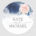 """Navy Blue and Dusty Pink Floral Wedding Classic Round Sticker<br><div class=""""desc"""">Elegant floral wedding stickers</div>"""