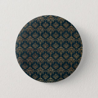 Navy Blue and Faux Glitter Gold Button