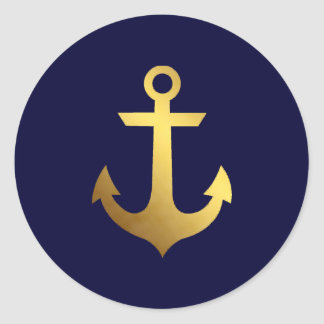 Navy Blue and Faux Gold Foil Anchor Classic Round Sticker