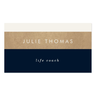 navy blue and faux gold leather business card