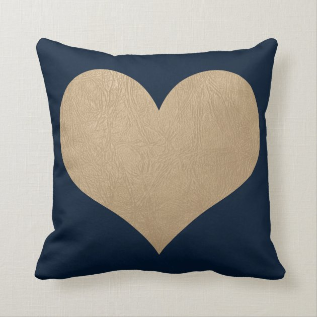 Navy Blue And Faux Gold Leather Heart Throw Pillow Zazzle Com