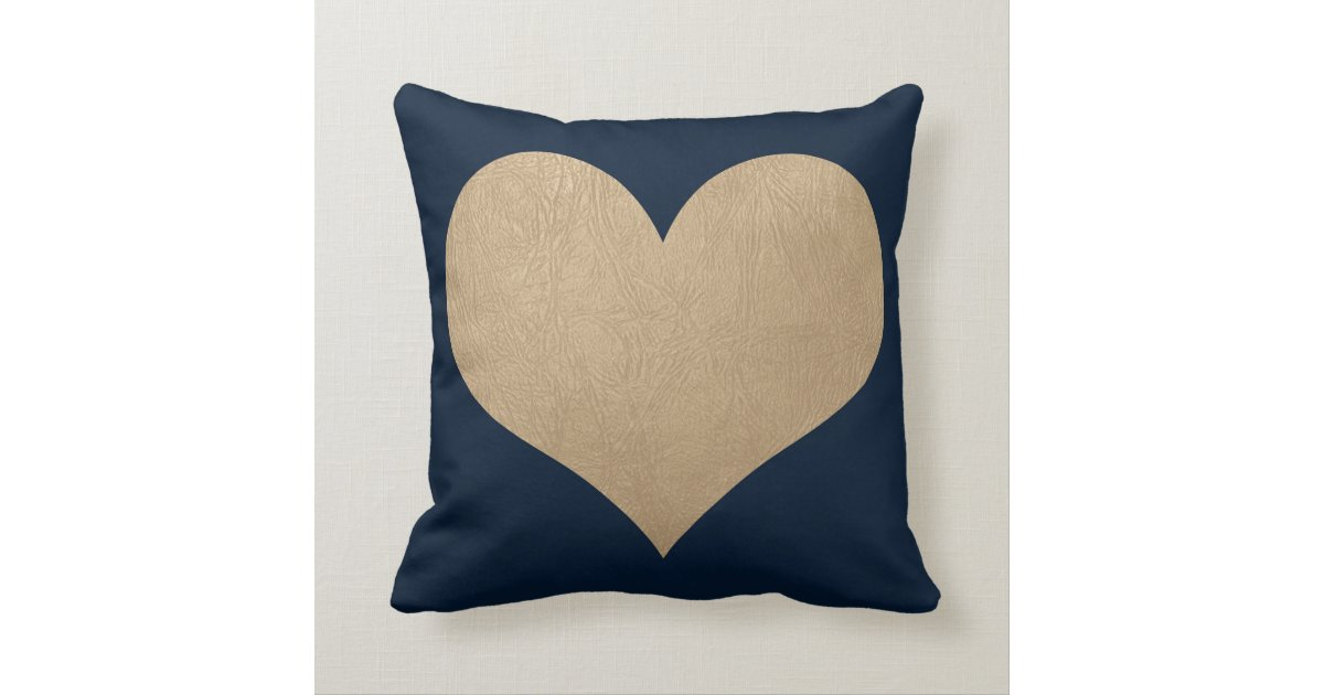 navy blue and faux gold leather heart throw pillow Zazzle