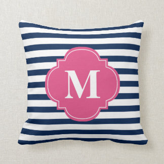 Navy Blue and Fuchsia Stripes Monogram Throw Pillow