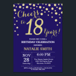 """Navy Blue and Gold 18th Birthday Diamond Invitation<br><div class=""""desc"""">18th Birthday Invitation with Navy Blue and Gold Glitter Diamond Background. Gold Confetti. Adult Birthday. Male Men or Women Birthday. For further customization,  please click the """"Customize it"""" button and use our design tool to modify this template.</div>"""