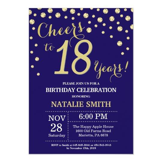 navy blue and gold 18th birthday diamond invitation