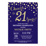Navy Blue and Gold 21st Birthday Diamond Invitation