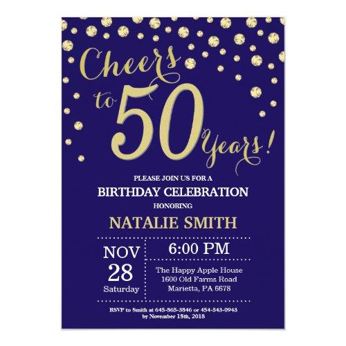 Navy Blue and Gold 50th Birthday Diamond Invitation