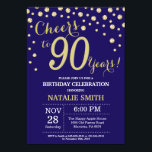 "Navy Blue and Gold 90th Birthday Diamond Invitation<br><div class=""desc"">90th Birthday Invitation with Navy Blue and Gold Glitter Diamond Background. Gold Confetti. Adult Birthday. Male Men or Women Birthday. For further customization,  please click the ""Customize it"" button and use our design tool to modify this template.</div>"