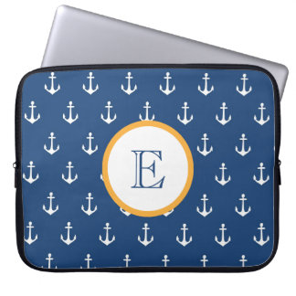 Navy Blue and Gold Anchor Laptop Sleeve