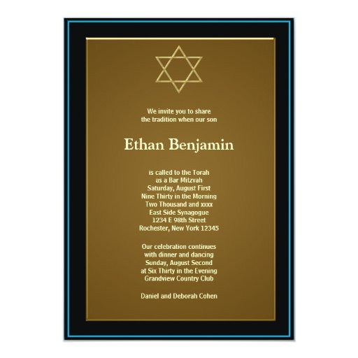 Navy Blue and Gold Bar Mitzvah 5x7 Paper Invitation Card