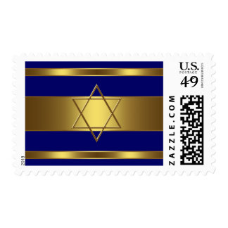 Navy Blue and Gold Bar Mitzvah Postage Stamp