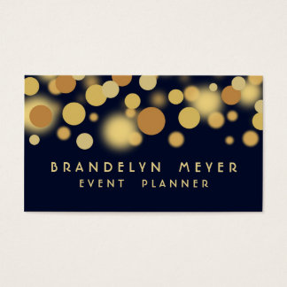 Navy Blue and Gold Bokeh Dots Business Card