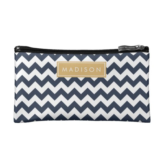 Navy Blue and Gold Chevron Custom Monogram Cosmetic Bag