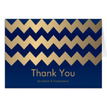 Navy Blue and Gold Chevron Pattern Card