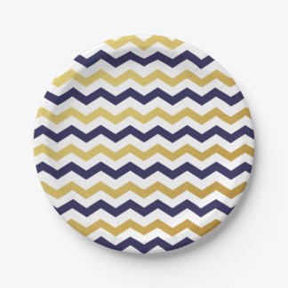 Navy Blue and Gold Chevron Pattern Paper Plates