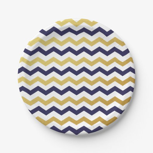 navy blue and gold chevron pattern paper plates 7 inch paper plate zazzle. Black Bedroom Furniture Sets. Home Design Ideas