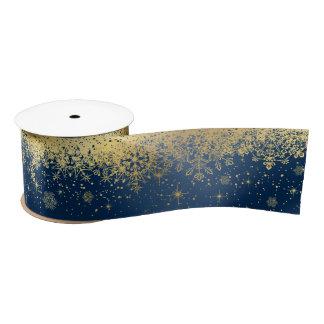 Navy Blue and Gold Christmas Snowflakes Satin Ribbon
