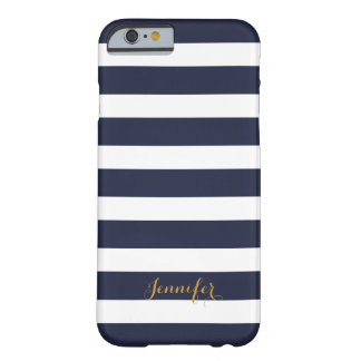 Navy Blue and Gold Classic Stripes Monogram Barely There iPhone 6 Case