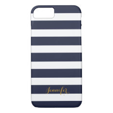 Navy Blue And Gold Classic Stripes Monogram Iphone 8/7 Case at Zazzle
