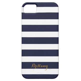 Navy Blue and Gold Classic Stripes Monogram iPhone SE/5/5s Case