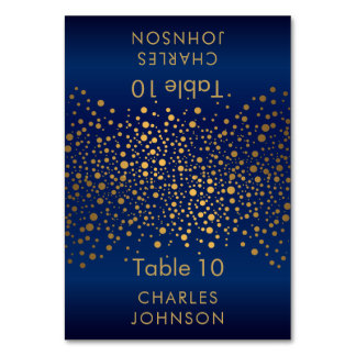 Navy Blue and Gold Confetti Dots 3 Place Cards