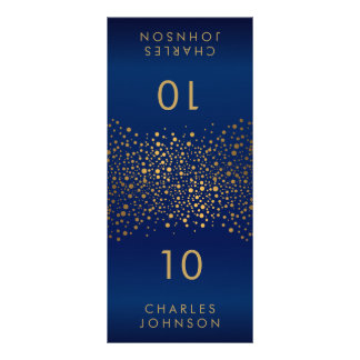 Navy Blue and Gold Confetti Dots Large Place Cards