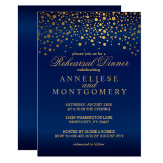 Navy Blue and Gold Confetti Rehearsal Dinner Invitation