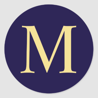 Navy Blue and Gold Elegant Monogram Classic Round Sticker