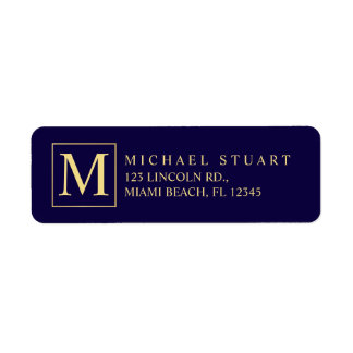 Navy Blue and Gold Elegant Monogram Label