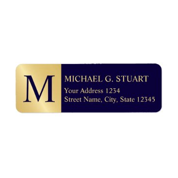 Professional Business Navy Blue and Gold Elegant Monogram Label