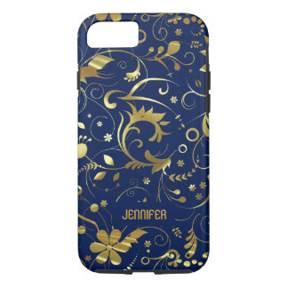 Navy Blue And Gold Floral Fabric Pattern iPhone 7 Case