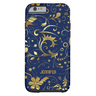 Navy Blue And Gold Floral Fabric Pattern Tough iPhone 6 Case