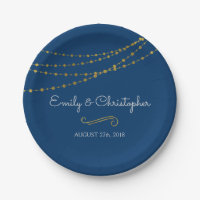 Navy Blue and Gold Foil String Lights Plates