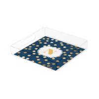 Navy Blue and Gold Glitter City Dots Monogram Tray