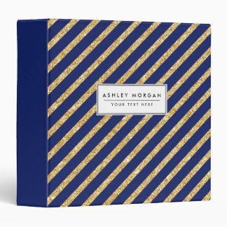 Navy Blue and Gold Glitter Diagonal Stripe Pattern 3 Ring Binder