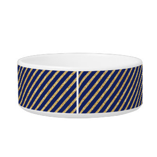 Navy Blue and Gold Glitter Diagonal Stripe Pattern Bowl